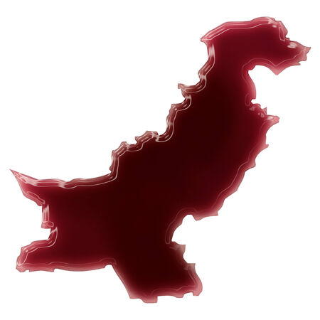 Pool of blood (or wine) that formed the shape of Pakistan. (series) photo