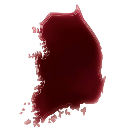 Pool of blood (or wine) that formed the shape of South Korea. (series) photo