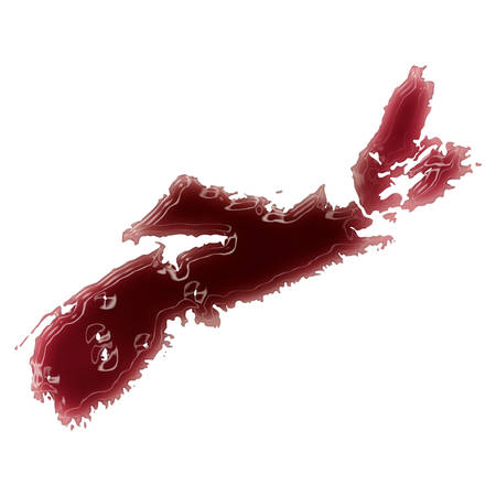 Pool of blood (or wine) that formed the shape of Nova Scotia. (series)