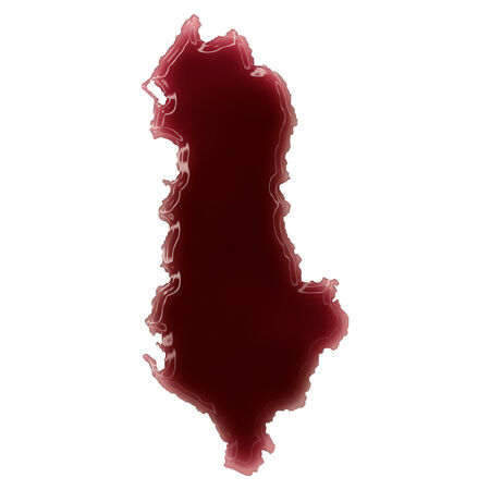 Pool of blood (or wine) that formed the shape of Albania. (series) Stock Photo