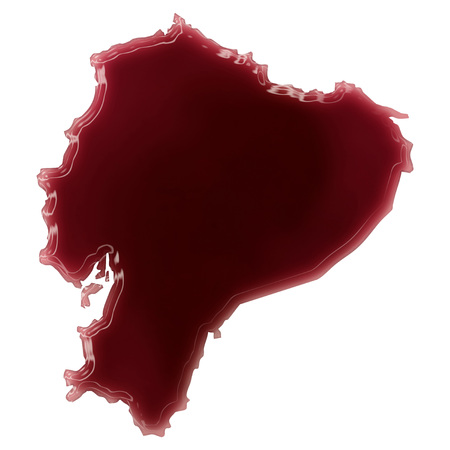 Pool of blood (or wine) that formed the shape of Ecuador. (series) photo