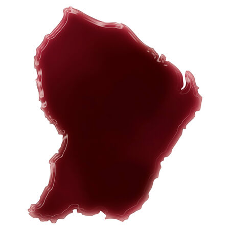 Pool of blood (or wine) that formed the shape of French Guiana. (series) Stock Photo