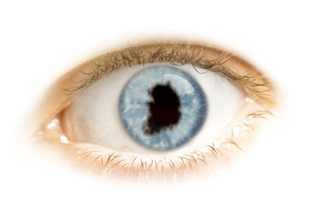 A close-up of an eye with the pupil in the shape of South Korea.(series) photo