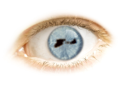 midway: A close-up of an eye with the pupil in the shape of Midway Islands.(series) Stock Photo