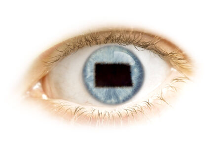A close-up of an eye with the pupil in the shape of North Dakota.(series) photo