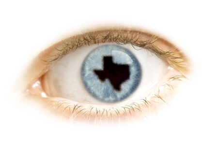 visions of america: A close-up of an eye with the pupil in the shape of Texas.(series)