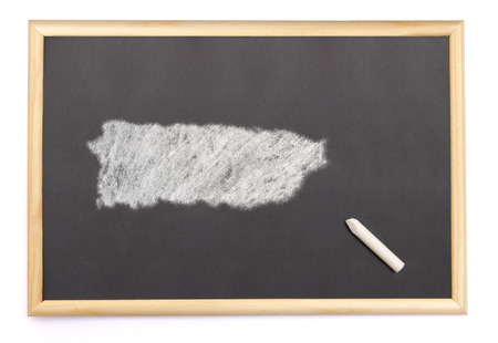 Blackboard with a chalk and the shape of Puerto Rico drawn onto. (series) photo