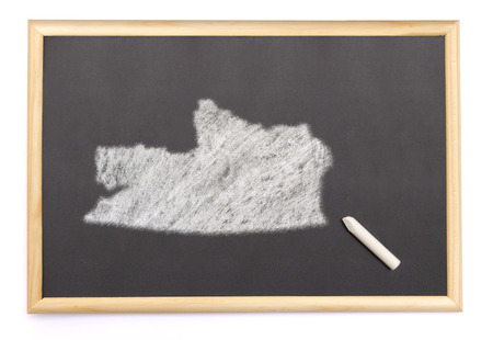russian federation: Blackboard with a chalk and the shape of Russian Federation drawn onto. (series)