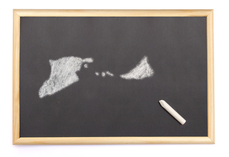 midway: Blackboard with a chalk and the shape of Midway Islands drawn onto. (series)