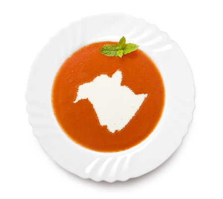 A plate tomato soup with cream in the shape of New Brunswick.(series) photo