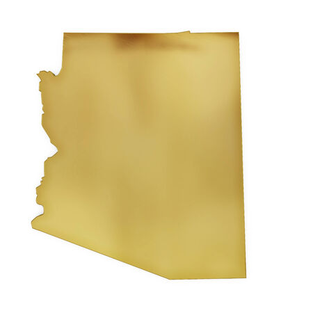 3 d illustration: The golden shape of Arizona isolated on white