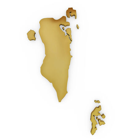 The golden shape of Bahrain isolated on white photo
