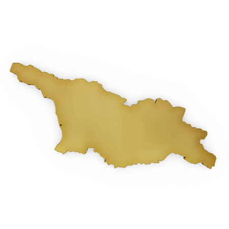 The golden shape of Georgia isolated on white