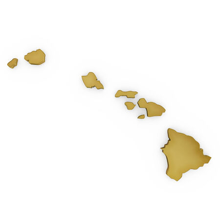 3 d illustration: The golden shape of Hawaii isolated on white Stock Photo