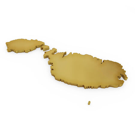 maltese map: The golden shape of Malta isolated on white