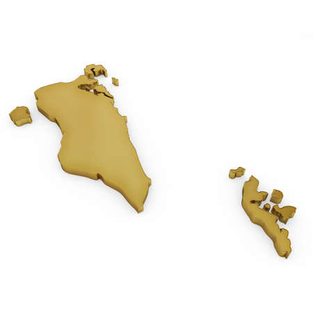 bahrain money: The golden shape of Bahrain isolated on white
