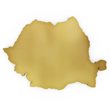rumania: The golden shape of Romania isolated on white