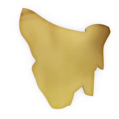 tasmania: The golden shape of Tasmania isolated on white Stock Photo