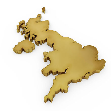 The photorealistic golden shape of United Kingdom isolated on white (series) . The rendering even has tiny scratches photo