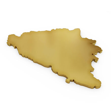 3 d illustration: The golden shape of Bosnia and Herzegovina isolated on white