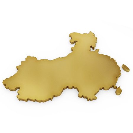 The photrealistic golden shape of China isolated on white (series) . The rendering even has tiny scratches photo
