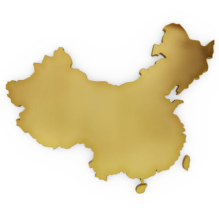 map of china: The golden shape of China isolated on white