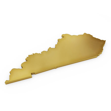 3 d illustration: The golden shape of Kentucky isolated on white