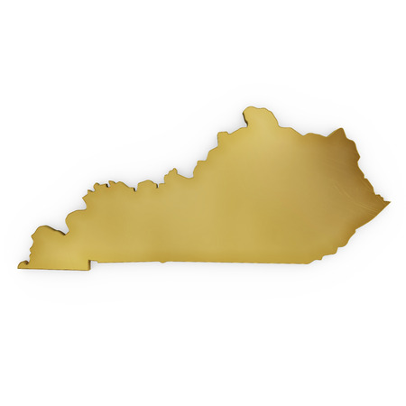 The golden shape of Kentucky isolated on white photo