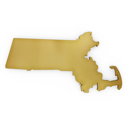 3 d illustration: The photorealistic golden shape of Massachusetts isolated on white (series) . The rendering even has tiny scratches