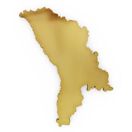 maltese map: The golden shape of Moldavia isolated on white