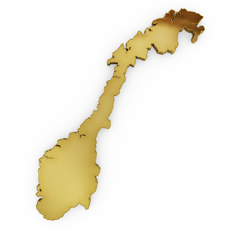 3 d illustration: The golden shape of Norway isolated on white