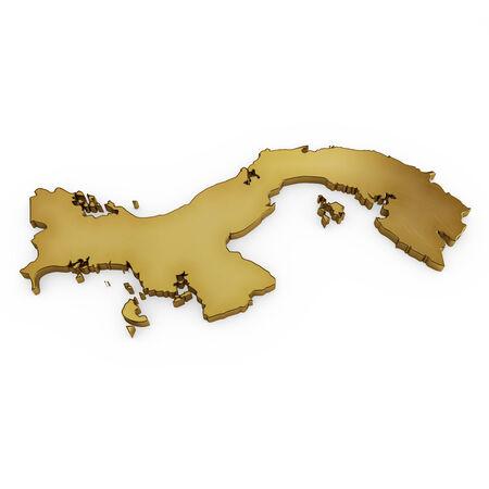 bandera panama: La figura dorada de Panam� aislados en blanco Foto de archivo