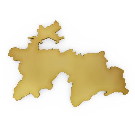 economy of tajikistan: The golden shape of Tajikistan isolated on white