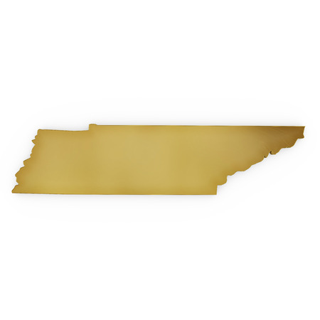 3 d illustration: The golden shape of Tennessee isolated on white