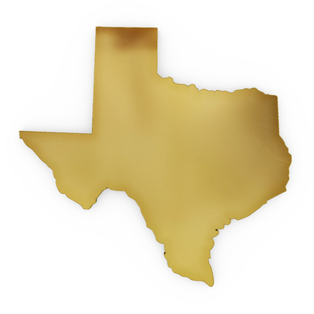 3 d illustration: The golden shape of Texas isolated on white