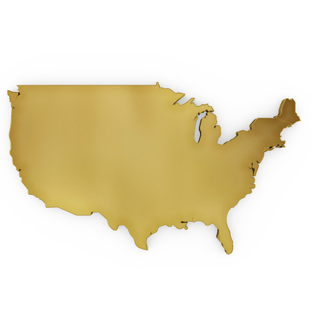 map of the united states: The golden shape of USA isolated on white
