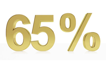 65: Very high quality rendering of a symbol for 65 % discount or gain with a subtle reflection.