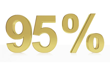 95: Very high quality rendering of a symbol for 95 % discount or gain with a subtle reflection.