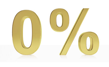 null: Very high quality rendering of a symbol for 0 % discount or gain with a subtle reflection