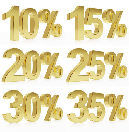Very high quality photorealistic rendering of a symbol for % discounts.