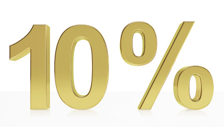 d offer: Very high quality rendering of a symbol for 10 % discount or gain with a subtle reflection