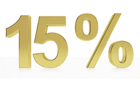 Very high quality rendering of a symbol for 15 % discount or gain with a subtle reflection.