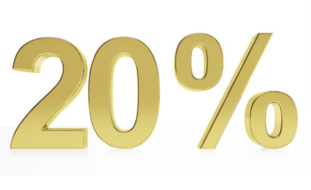 Very high quality rendering of a symbol for 20 % discount or gain with a subtle reflection.