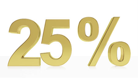 25: Very high quality rendering of a symbol for 25 % discount or gain with a subtle reflection.  Stock Photo