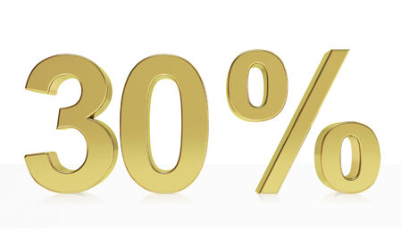 front raise: Very high quality rendering of a symbol for 25 % discount or gain with a subtle reflection. Stock Photo