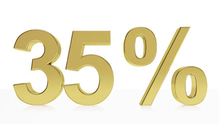35: Very high quality rendering of a symbol for 35 % discount or gain with a subtle reflection