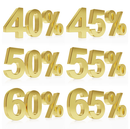 Very high quality photo realistic rendering of a symbol for % discounts.  Stock Photo