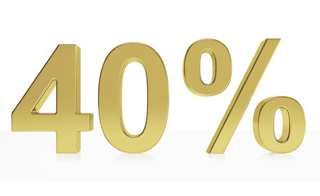 40: Very high quality rendering of a symbol for 40 % discount or gain with a subtle reflection.