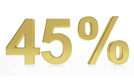 45: Very high quality rendering of a symbol for 45 % discount or gain with a subtle reflection.