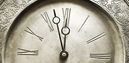 end of time: Watch clock in closeup shot  Stock Photo